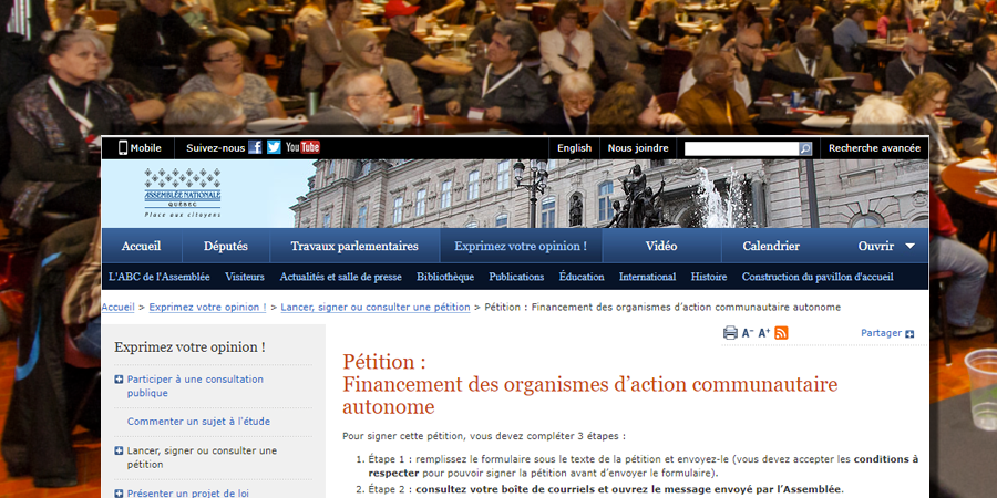 Large petition financement groupes communautaires gf